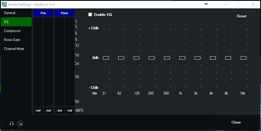Equalizer settings vMix