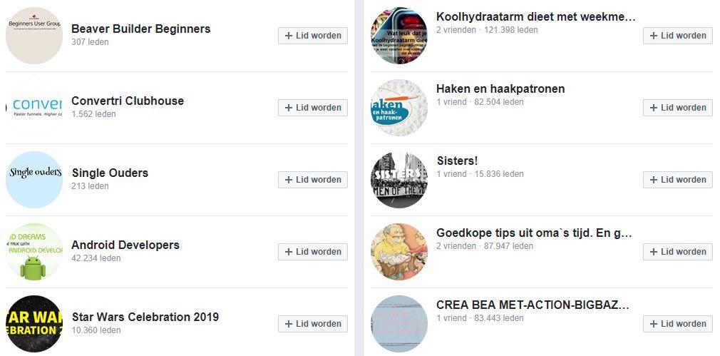Facebook groepen suggesties bekijken