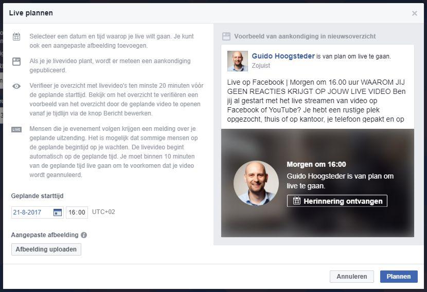 Facebook Live uitzending vooraf plannen