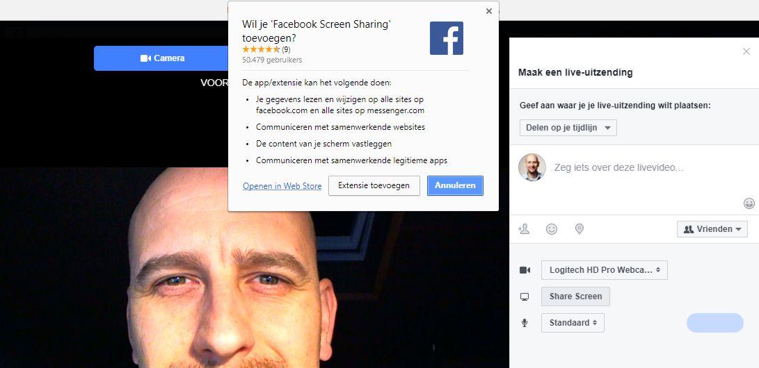 Met Facebook Live kun je nu ook je (browser) beeldscherm delen.