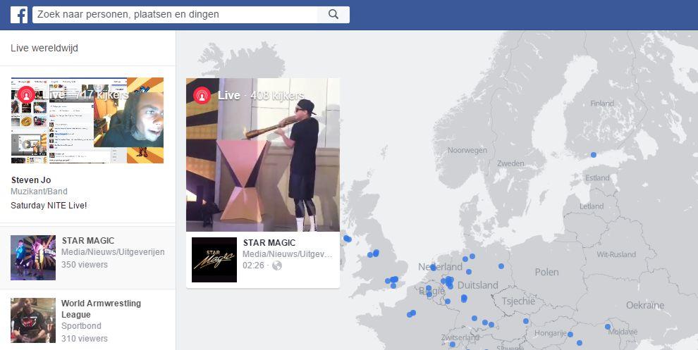 Facebook Live video kaart met actuele livestreams
