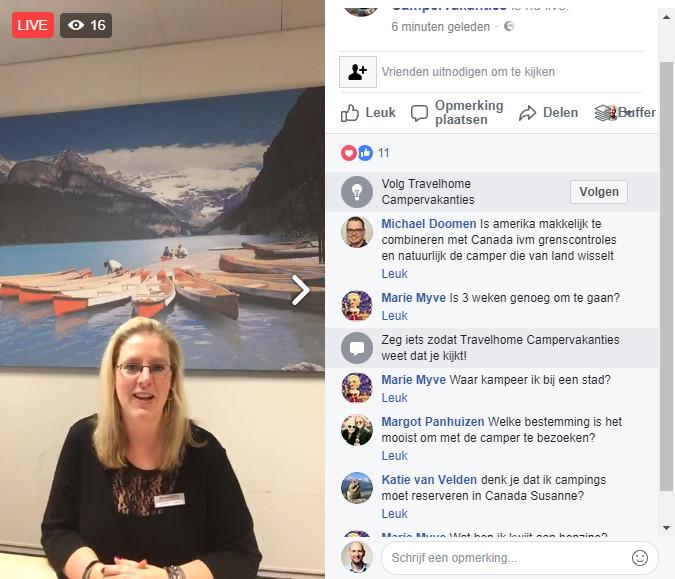 Facebook Live video voor reisbureau.