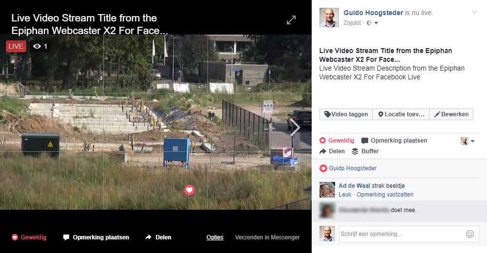 Facebook Live met de Webcaster X2