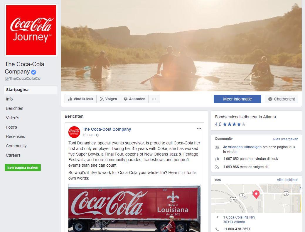 Facebook pagina voorbeeld