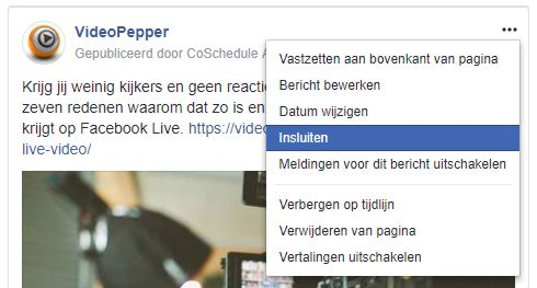 Facebook post insluiten op je website