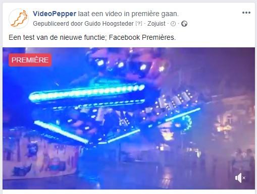 Een Facebook Première is duidelijk herkenbaar aan de rode balk rechtsboven.