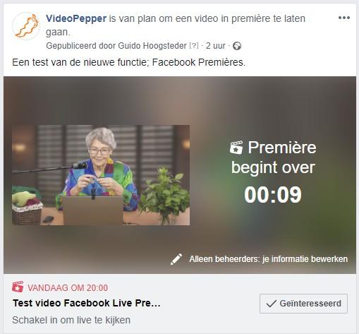 Aftellen naar je Facebook Première.