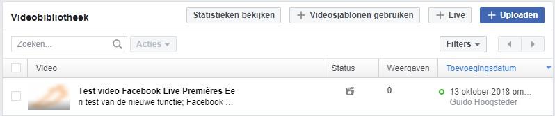 Facebook Première video's zijn terug te vinden in de videobibliotheek.