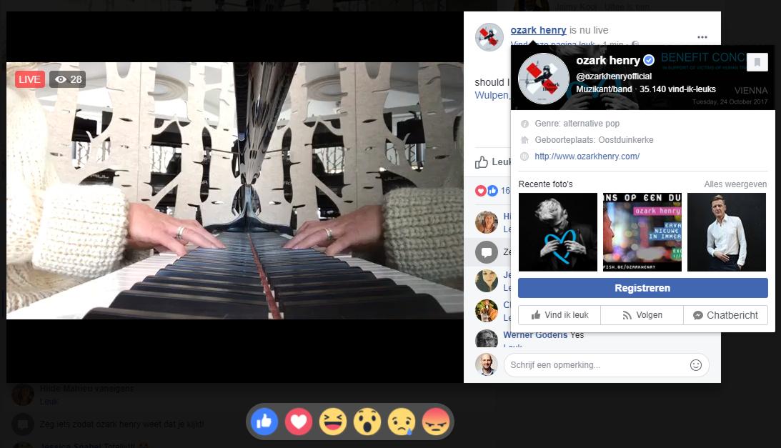 Artiesten zoals Ozark Henry gebruiken Facebook Live.