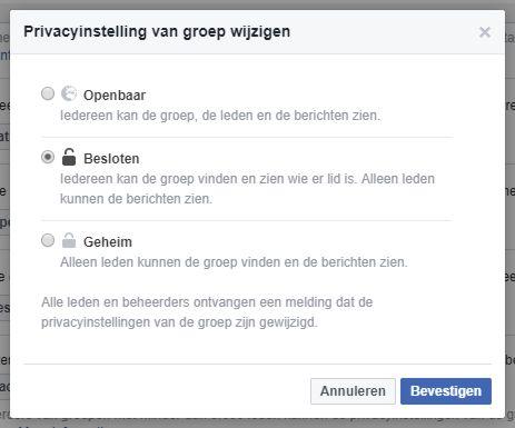 Privacyinstellingen van Facebook groepen