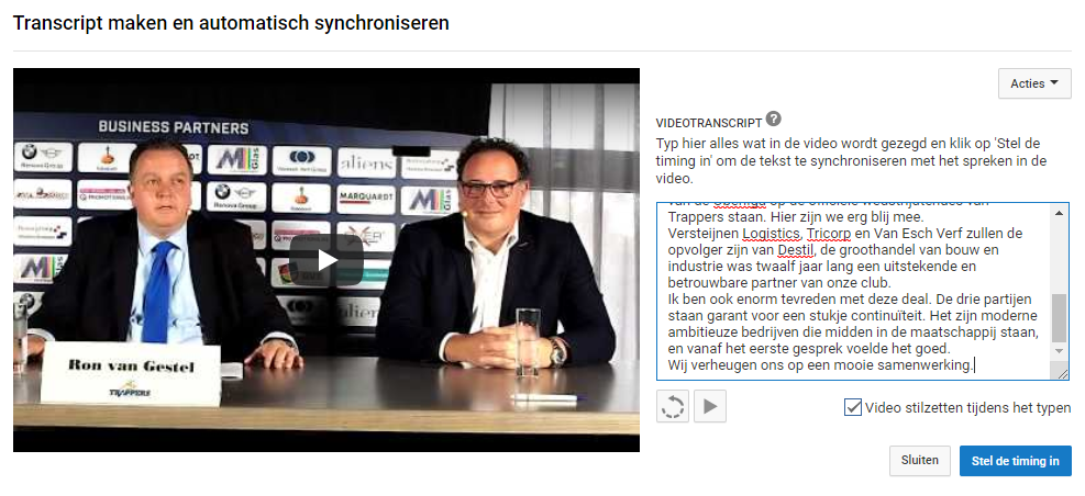 Video ondertiteling toevoegen in YouTube.