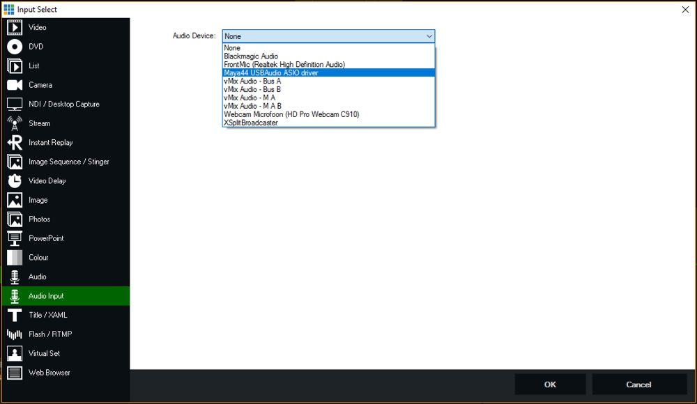 vMix audio input instellen