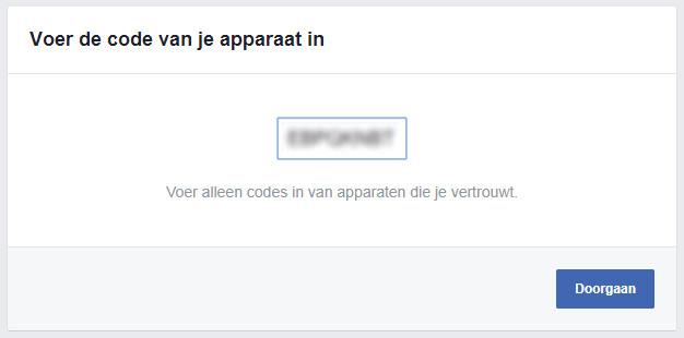 Device code invoeren bij Facebook