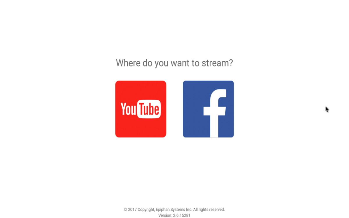 Als je de Webcaster X2 inschakelt, krijg je een keuzescherm voor streamen naar YouTube of Facebook.
