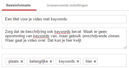Voeg een titel, omschrijving en keywords toe in YouTube